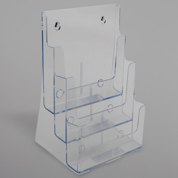 """Deflecto 77301 9 1/2"""" x 6 1/4"""" x 12 5/8"""" 3-Compartment Tiered Magazine Size Document Holder"""