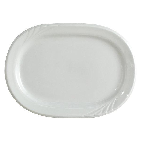 "Tuxton YPH-102 Sonoma 10 1/4"" Bright White Embossed Rim China Platter - 24/Case"