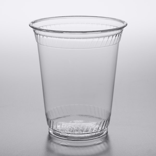 Disposable Clear PET Plastic Cups w// Flat Lids and Clear Straws 200 Pack 20 oz