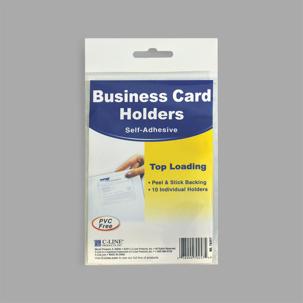 """C-Line 70257 3 1/2"""" x 2"""" Clear Top Load Self-Adhesive Business Card Holder - 10/Pack Main Image 1"""