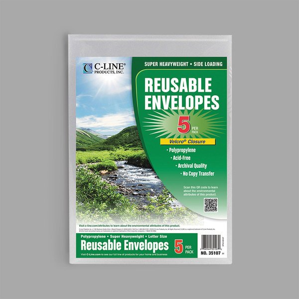 """C-Line 35107 9 3/8"""" x 13"""" Clear Reusable Poly Envelope with Hook and Loop Closure - 5/Pack Main Image 1"""