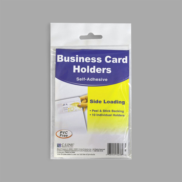 Clear 10//Pack, C-Line Self-Adhesive Business Card Holders Top Load 3-1//2 x 2