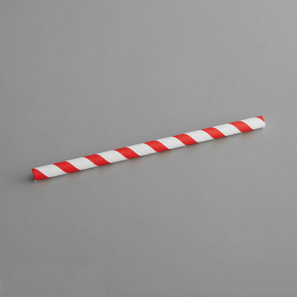 "7 3//4/"" 400//Pack Wrapped Jumbo Straws Plastic Red w//White Stripe"