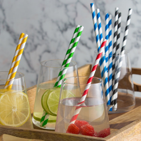 """EcoChoice 7 3/4"""" Assorted Stripe Jumbo Unwrapped Paper Straw - 2400/Pack"""