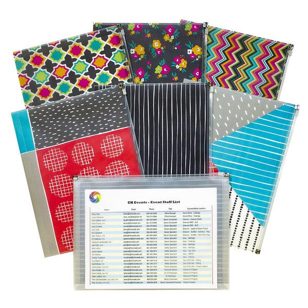 "C-Line 54610 Zip 'N Go 13 1/8"" x 10"" Assorted Color Playful Pops Reusable Envelope - 3/Pack Main Image 1"