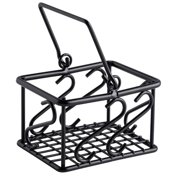 "American Metalcraft SBS533 3 1/2"" x 2 3/4"" Scroll Wrought Iron Sugar Packet Caddy Main Image 1"