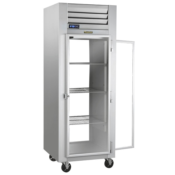 Traulsen G16013P Solid Front, Glass Back Door 1 Section Pass-Through Refrigerator - Right / Left Hinged Doors Main Image 1