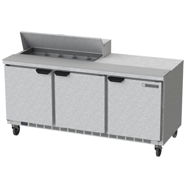 "Beverage-Air SPE72HC-10 Elite Series 72"" 3 Door Refrigerated Sandwich Prep Table Main Image 1"