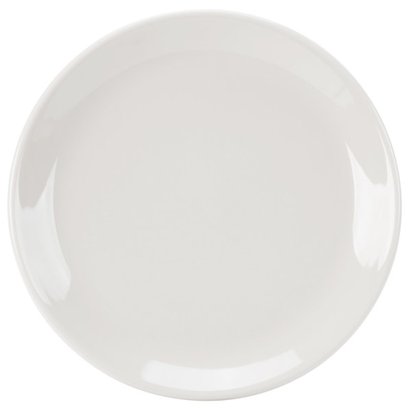 """Homer Laughlin 30800 Empire 9 5/8"""" Ivory (American White) Coupe China Plate - 24/Case"""