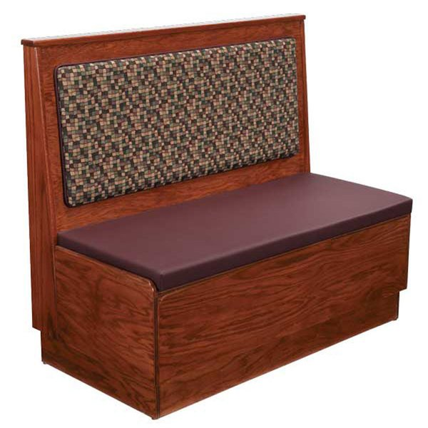 """American Tables & Seating AS36-W-PS Plain Back Platform Seat Single Wood Booth - 36"""" High"""