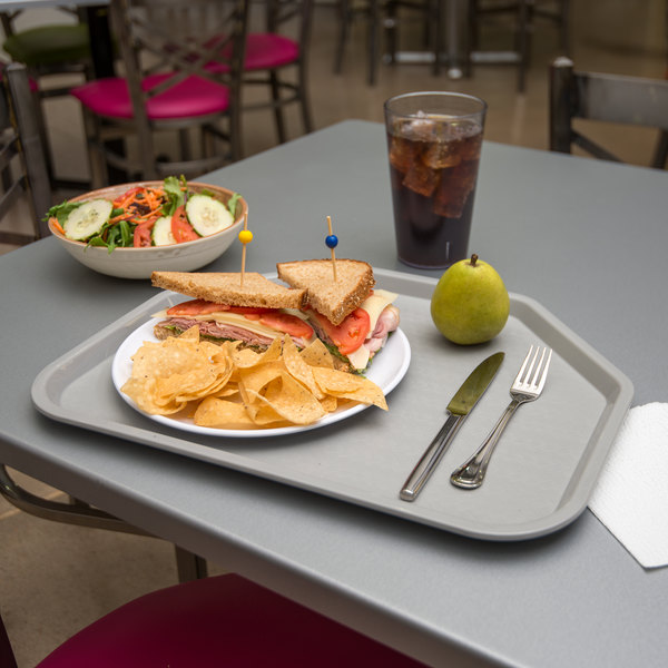 """Carlisle CT1713TR23 Customizable Cafe 14"""" x 18"""" Gray Trapezoid Plastic Fast Food Tray - 12/Case"""