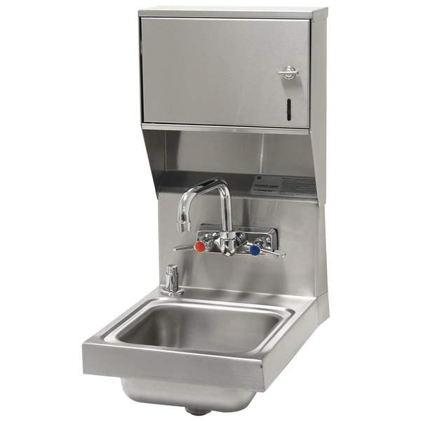 "Advance Tabco 7-PS-84 Space Saving Hand Sink with Splash Mount Faucet, Soap, and Paper Towel Dispenser - 12"" x 16"""