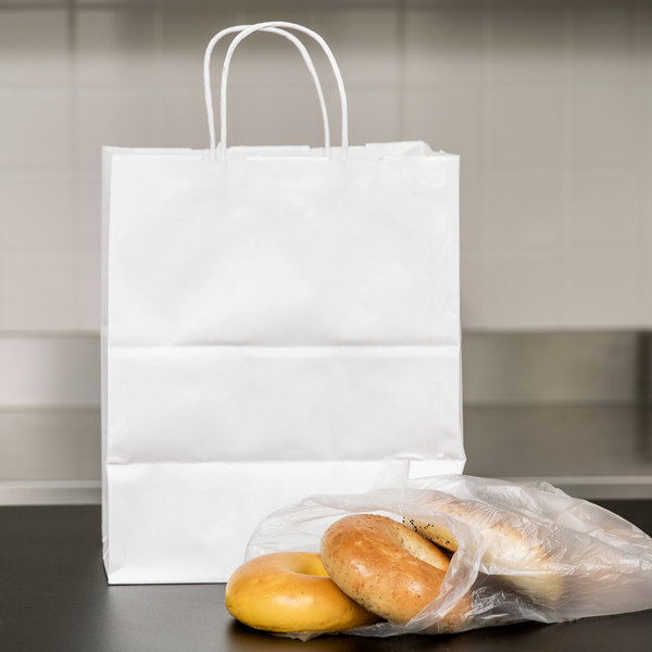 """Duro Bistro White Paper Shopping Bag with Handles 10"""" x 6 3/4"""" x 12"""" - 250/Bundle Main Image 3"""