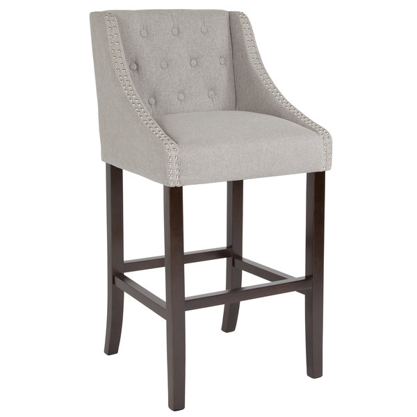 Flash Furniture Ch 182020 T 30 Ltgy F Gg Carmel Series Light Gray Tufted Fabric Bar Stool