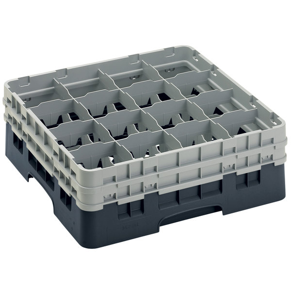 "Cambro 16S534110 Camrack 6 1/8"" High Customizable Black 16 Compartment Glass Rack Main Image 1"