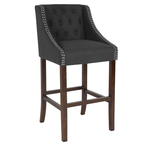 Flash Furniture CH-182020-T-30-BK-F-GG Carmel Series Black Tufted Fabric Bar Stool with Walnut Frame and Nail Trim Accent