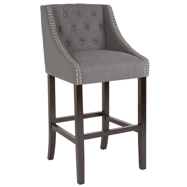 Flash Furniture CH-182020-T-30-DKGY-F-GG Carmel Series Dark Gray Tufted Fabric Bar Stool with Walnut Frame and Nail Trim Accent