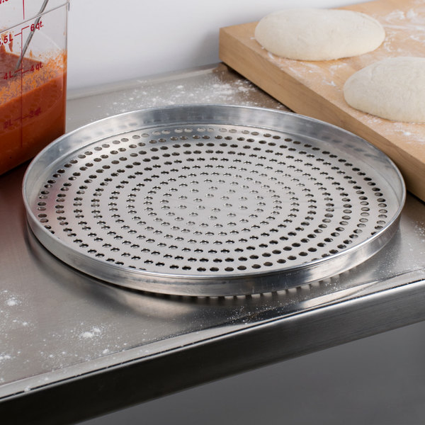 """American Metalcraft SPA4016 16"""" x 1"""" Super Perforated Standard Weight Aluminum Straight Sided Pizza Pan"""
