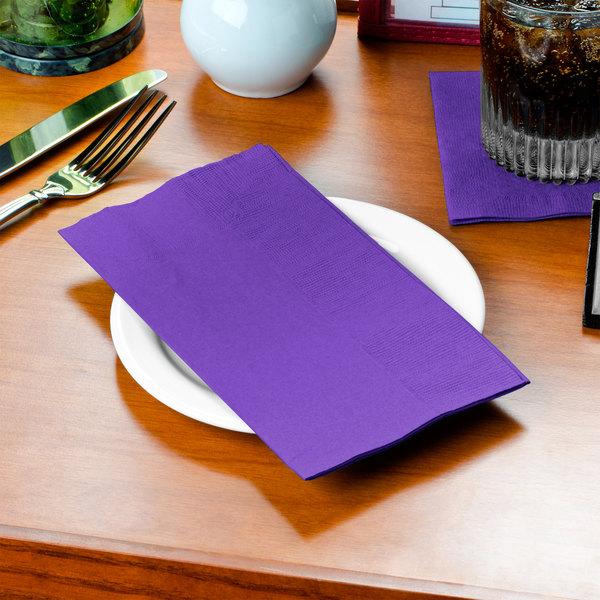 "Choice 15"" x 17"" Customizable Purple 2-Ply Paper Dinner Napkin - 1000/Case"