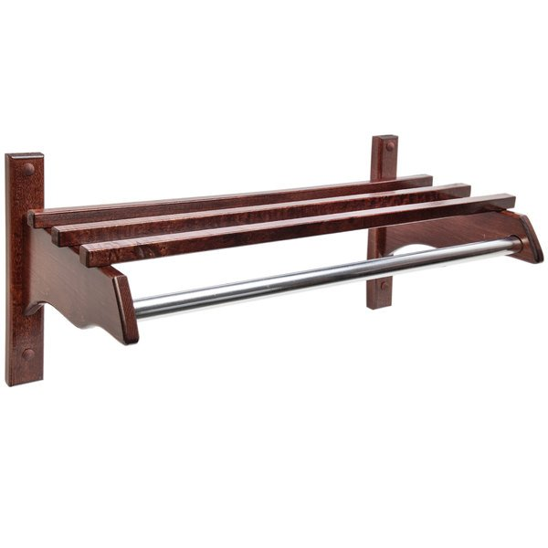 "CSL TJF-1824CM 21"" Cherry Mahogany Hardwood Top Bars Wall Mount Coat Rack with 1"" Metal Hanging Rod"