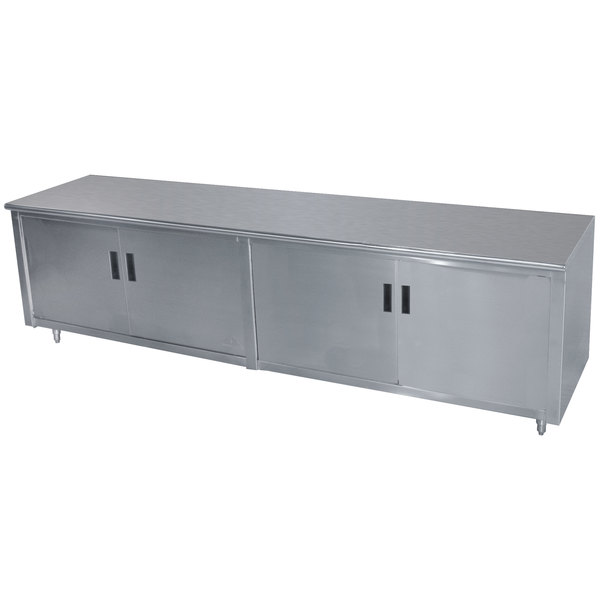 "Advance Tabco HB-SS-246M 24"" x 72"" 14 Gauge Enclosed Base Stainless Steel Work Table with Hinged Doors and Fixed Midshelf"