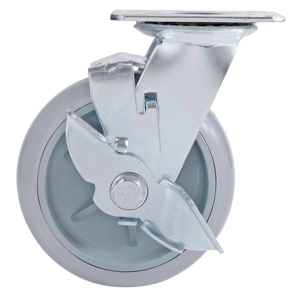 Lavex Lodging Swivel Plate Caster with Brake for Small Housekeeping Carts Main Image 1