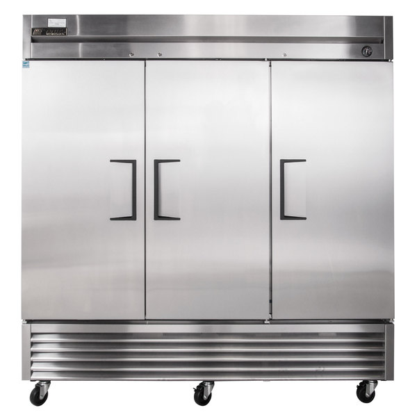 "True TS-72 78"" Stainless Steel Three Section Solid Door Reach-In Refrigerator"