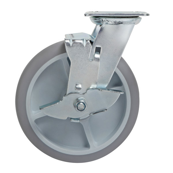 Lavex Lodging Swivel Plate Caster with Brake for Large Housekeeping Carts Main Image 1