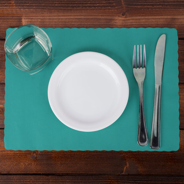 "Hoffmaster 310527 10"" x 14"" Teal Colored Paper Placemat with Scalloped Edge - 1000/Case"