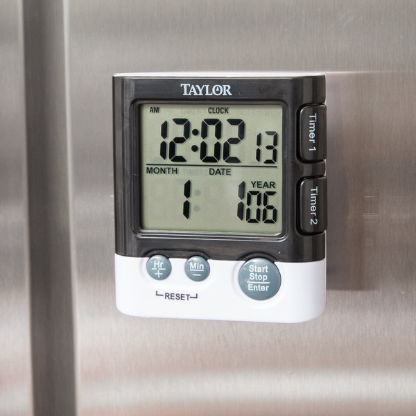 Taylor 5828 Dual Event Digital Kitchen Timer with Clock and Date