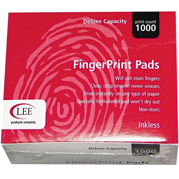 "LEE 03127 2 1/4"" x 1 3/4"" Black Inkless Fingerprint Pad - 12/Pack Main Image 1"