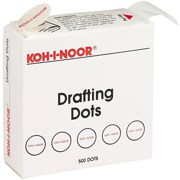 """Koh-I-Noor 25900J01 7/8"""" Adhesive Drafting Dots with Dispenser - 500/Roll"""