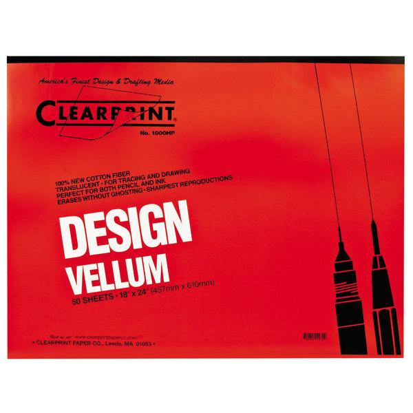 "Clearprint 10001422 Design Vellum 18"" x 24"" 50-Sheet Sketch Paper Pad Main Image 1"