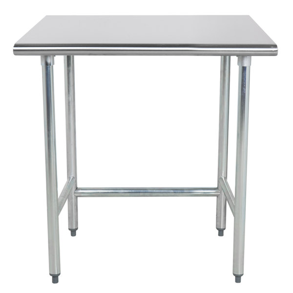 "Advance Tabco TGLG-243 24"" x 36"" 14 Gauge Open Base Stainless Steel Commercial Work Table"