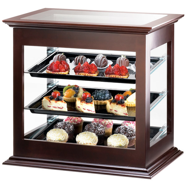 """Cal-Mil 284-52 Three Tier Wood Frame Display Case with Rear Door - 21 3/4"""" x 18 1/2"""" x 20 1/4"""""""