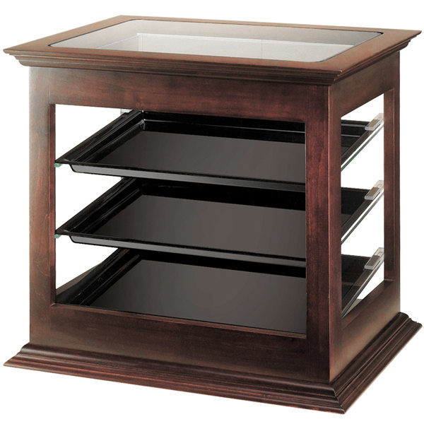 "Cal-Mil 284-52 Three Tier Wood Frame Display Case with Rear Door - 21 3/4"" x 18 1/2"" x 20 1/4"""