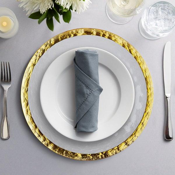 "10 Strawberry Street ALG-340 Alpine 13"" Gold Rim Glass Charger Plate"