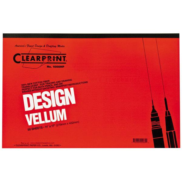 "Clearprint 10001416 Design Vellum 11"" x 17"" 50-Sheet Sketch Paper Pad Main Image 1"