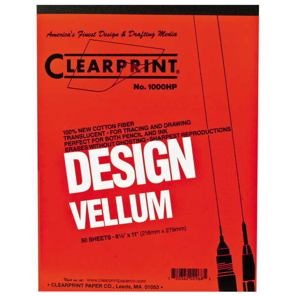 "Clearprint 10001410 Design Vellum 8 1/2"" x 11"" 50-Sheet Sketch Paper Pad Main Image 1"