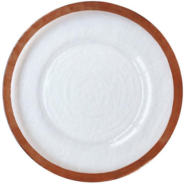 "Bon Chef 200002RG Tavola 13"" Rose Gold Rim Glass Charger Plate"