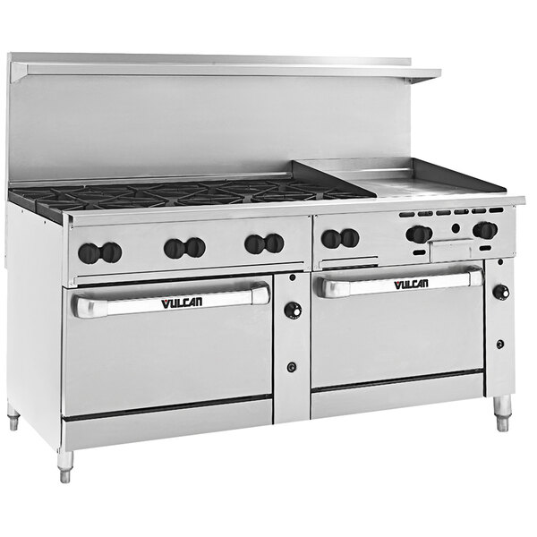 """Vulcan 72RS-8B24GT Endurance 72"""" 8 Burner Liquid Propane Range with 24"""" Thermostatic Griddle, Standard Oven, and Refrigerated Base - 280,000 BTU Main Image 1"""