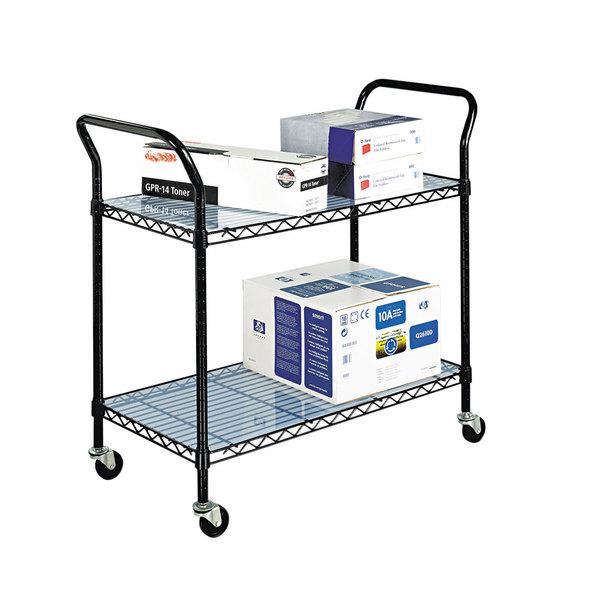 Safco 5337BL Black 2 Shelf Utility Cart