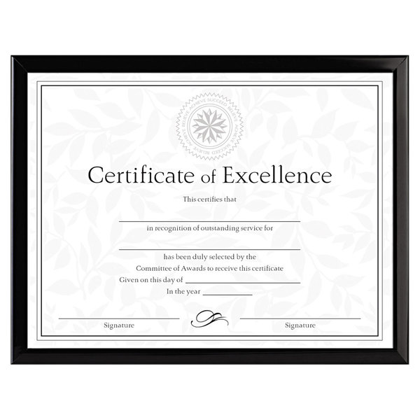 """DAX N17000N Value U-Channel 8 1/2"""" x 11"""" Black Diploma Frame with Certificate"""