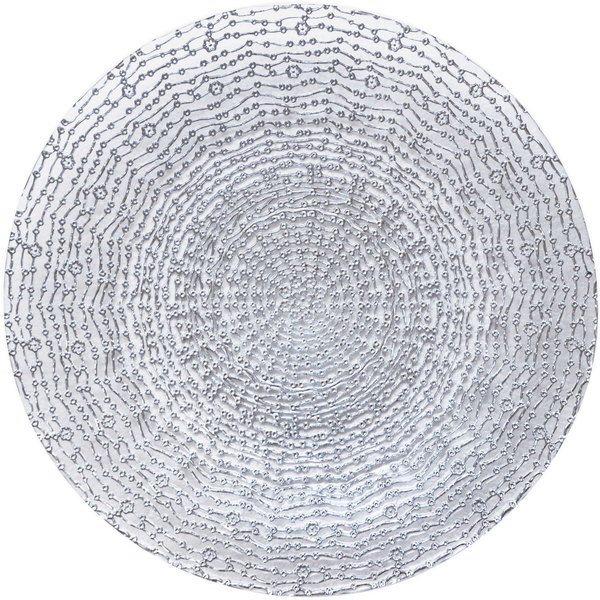 "Bon Chef 200004S Tavola 13"" Silver Luxury Glass Charger Plate"