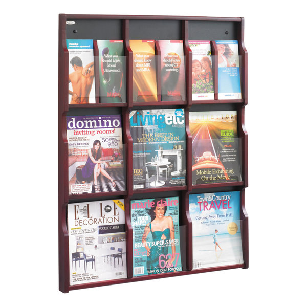 """Safco 5702MH Expose 29 3/4"""" x 2 1/2"""" x 38 1 /4"""" Mahogany/Black 9 Compartment Literature Display with Removable Dividers Main Image 1"""