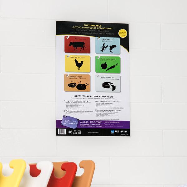 "San Jamar CBCWLCTST 17"" x 11"" Customizable Color-Coded Cutting Board Smart Chart Main Image 5"
