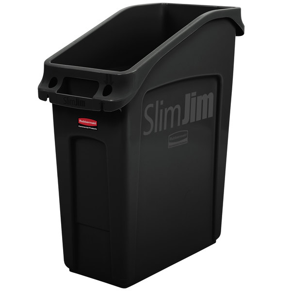 Rubbermaid 2026696 13 Gallon Slim Jim Under Counter Black Trash Can