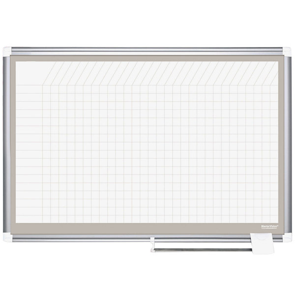 """MasterVision CR1232830A 48"""" x 72"""" White Grid Planner Porcelain Dry Erase Planning Board with Accessories - 1"""" x 1"""" Grid"""