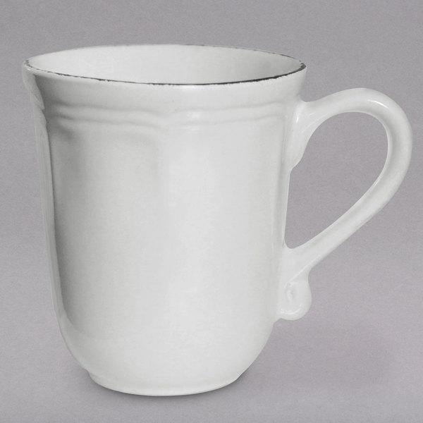 10 Strawberry Street OXFRD-28 Oxford 16 oz. Silver/Metallic Rim White Stoneware Mug - 24/Case