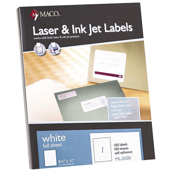 "MACO ML0100 8 1/2"" x 11"" Laser / Inkjet Full Sheet White ID Label - 100/Box"